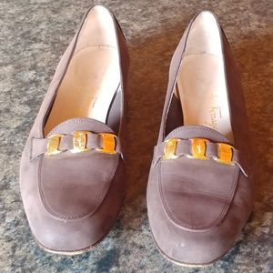 Salvatore Ferragamo Suede Loafer Heels Gray